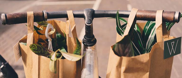 paper bags on a bike