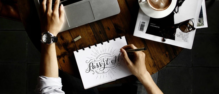 designing a logo on a table