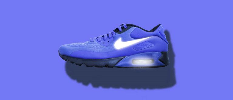 nike shoe on blue background