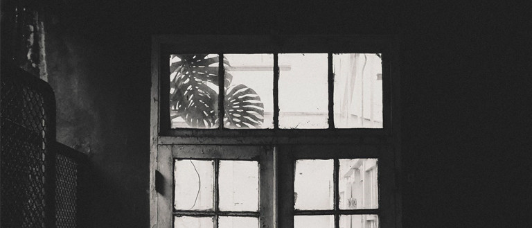 black and white image of a window