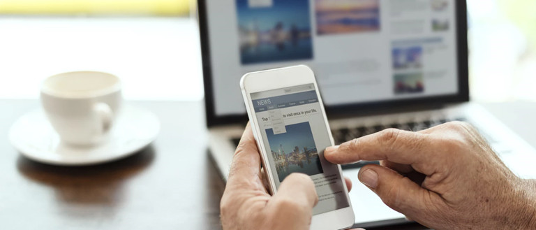 checking website on a mobile phone