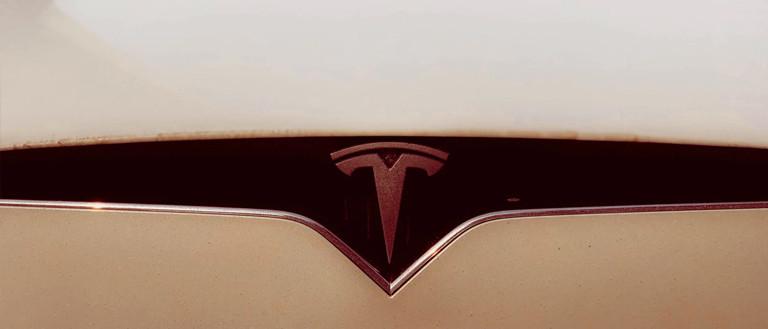 close up of the Tesla car logo