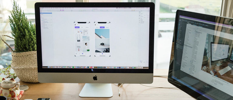 wireframes on computer screen