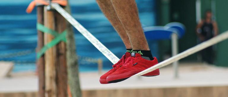 balancing on a slack line
