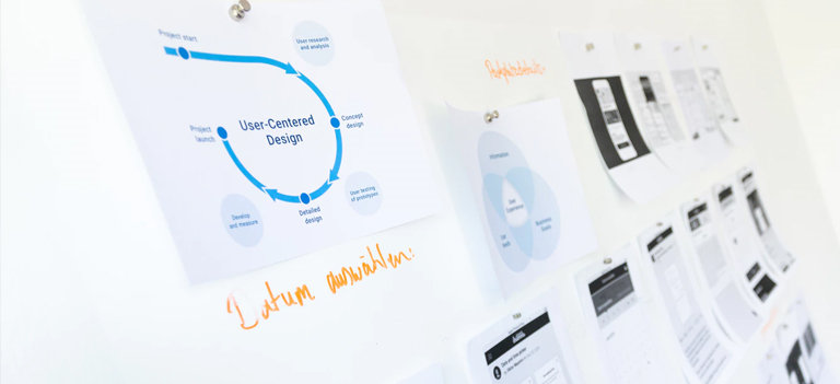 white table with ux design steps taped on in