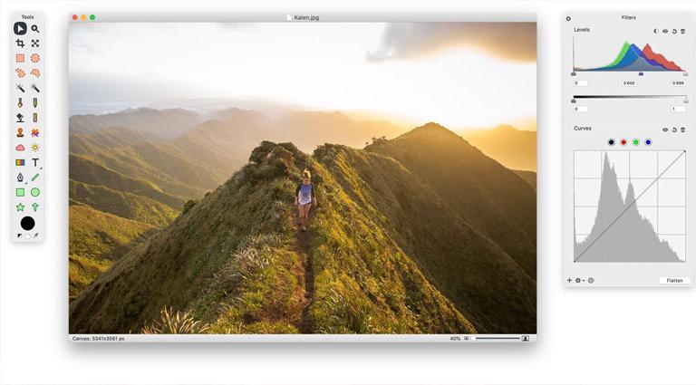 acorn photo editor interface
