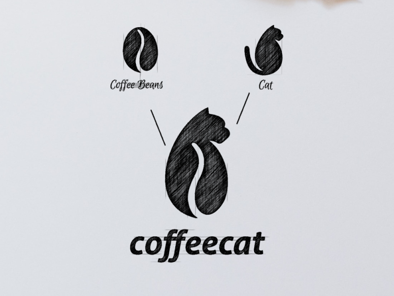 Coffee Cat Logo Combination by Garagephic Studio