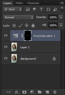 Choosing Hue/saturation mask