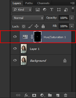 Hue/Saturation layer above the duplicated layer