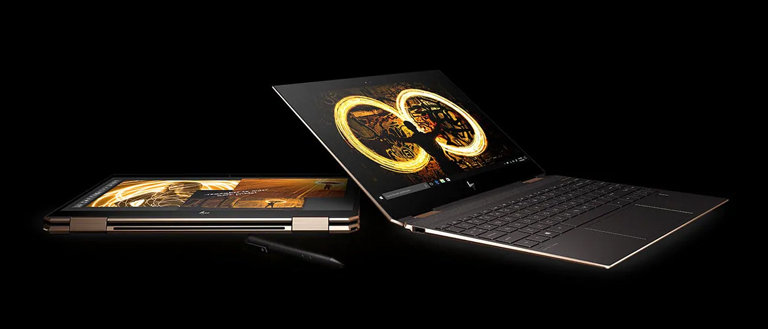 hp spectre x360 2 in 1 mode on black background