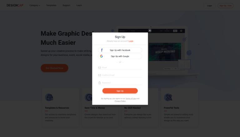 designcap signing in form