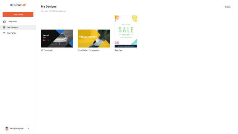 my designs tab