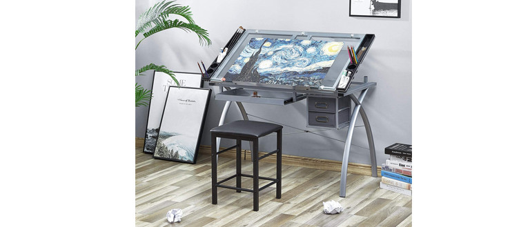 Kealive X-Cross Glass Top table for artists