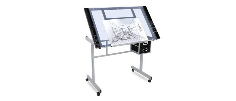 ZENY Glass Top craft station table